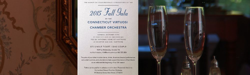 October 11<br>2015 Fall Gala of the Connecticut Virtuosi Chamber Orhcestra